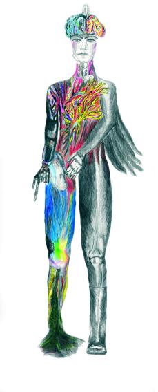 Zeichnung, Digital Print auf Folie 90 cm x 172 cm